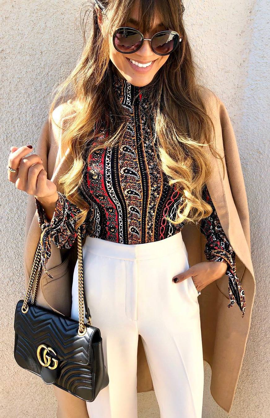 elegant winter outfit / printed blouse + nude coat + bag + white pants