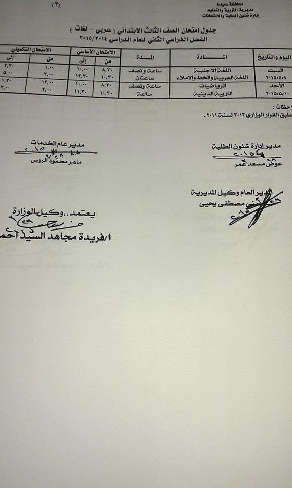 جدول امتحانات الترم الثانى للشهادة الثانويه والاعداديه والابتدائيه 2015 محافظة (دمياط) أخر العام