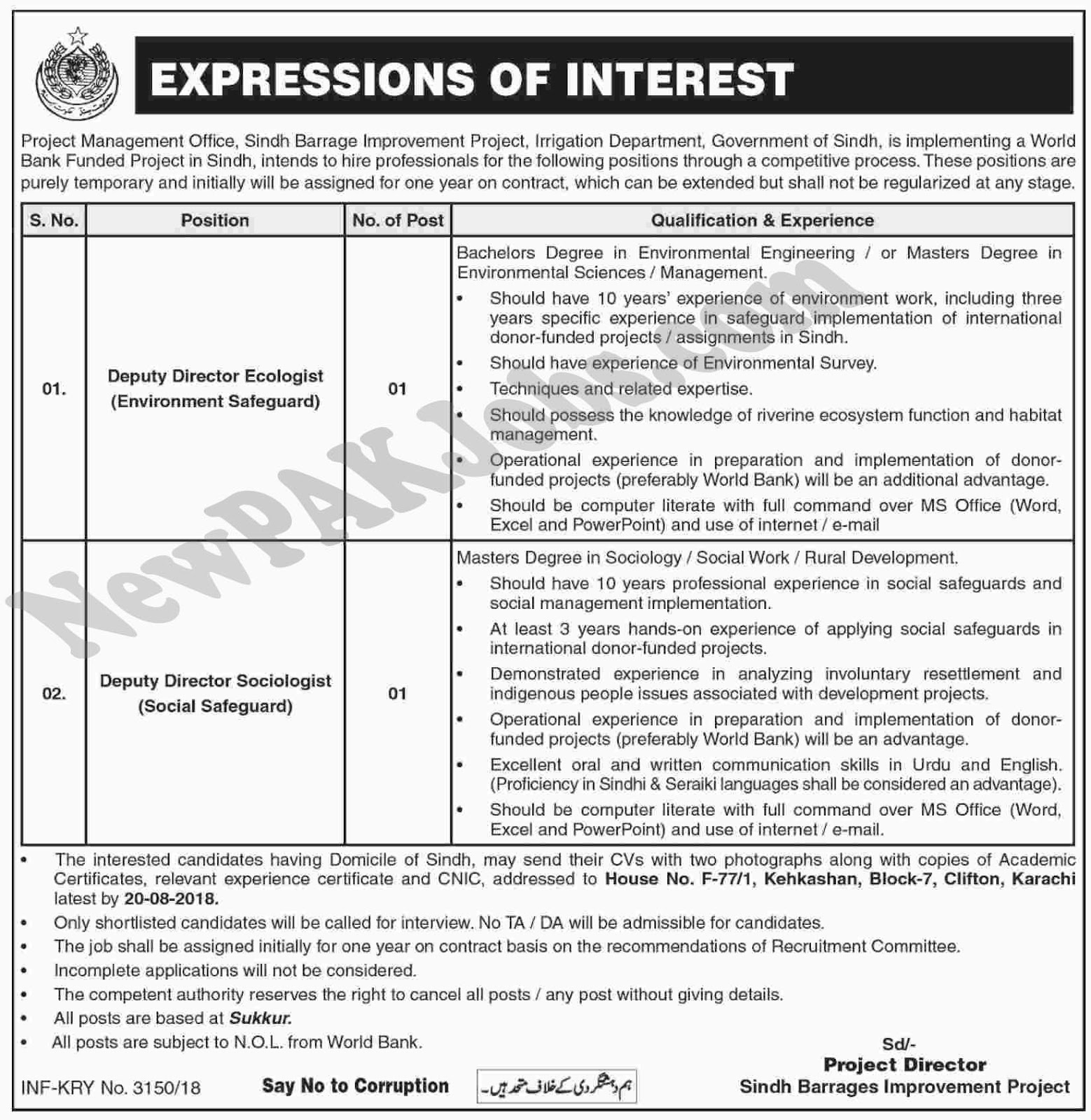 Irrigation Department Government of Sindh, August 2018 Jobs