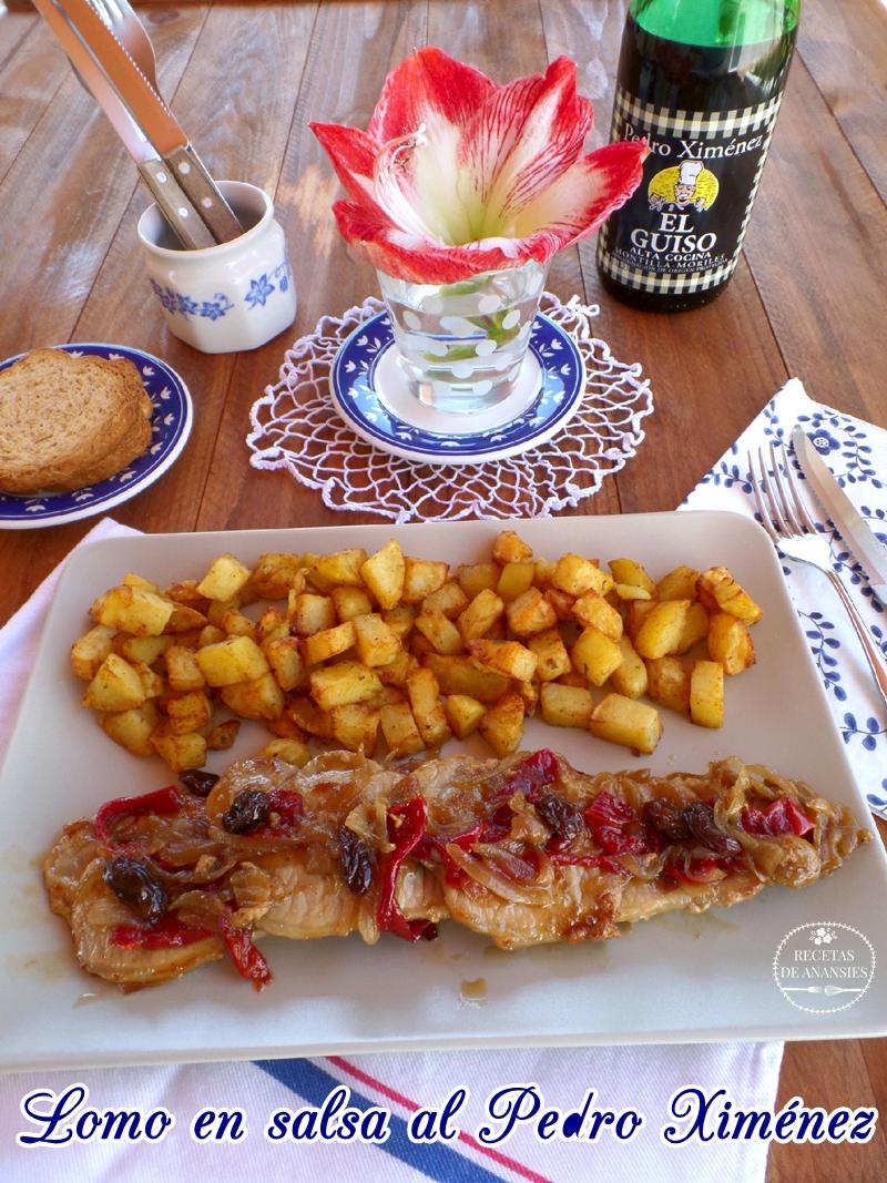 Lomo en salsa al Pedro Ximénez con pasas y pimiento