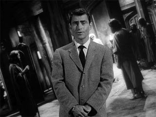 "Rod Serling presenting ""The Howling Man,"" (1960) an episode of The Twilight Zone"