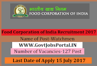 Food Corporation of India Recruitment 2017– 127 Watchmen