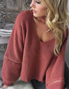 Knitted Sweater V-neck Sexy Loose