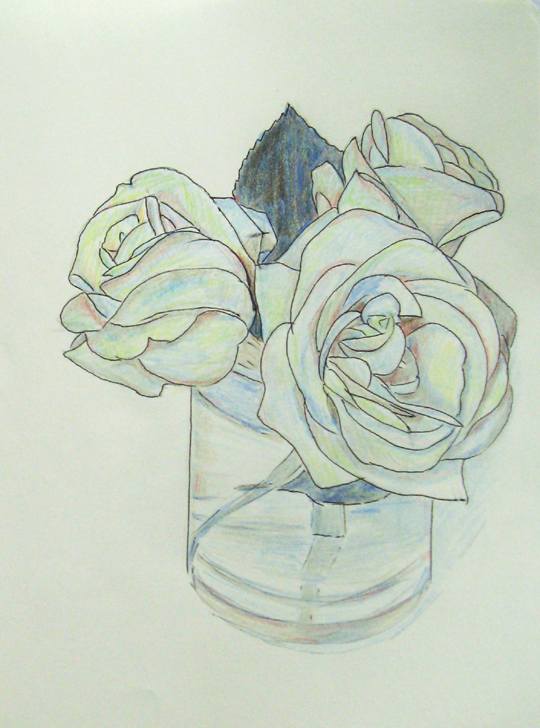 Robie Benve Art Drawing Of Roses Ink Pen And Colored Pencils