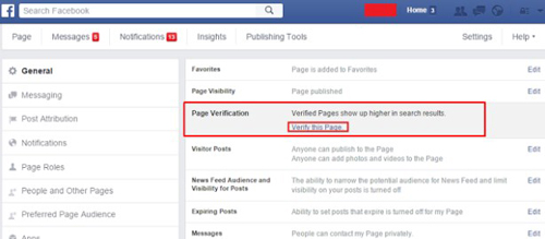 facebook page verification link