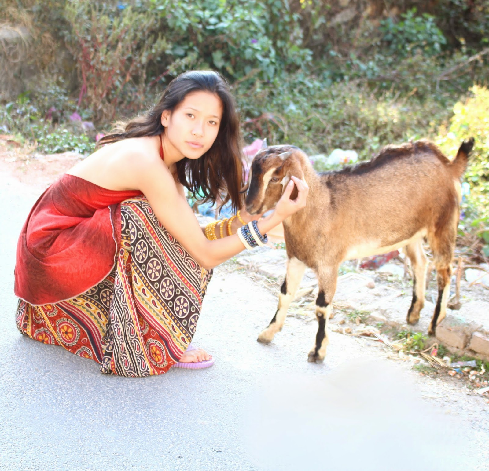 Lotus Sky, boho jewelry, Kathmandu valley, cute goats, Tibetan model, recycled sari, handmade boho jewelry
