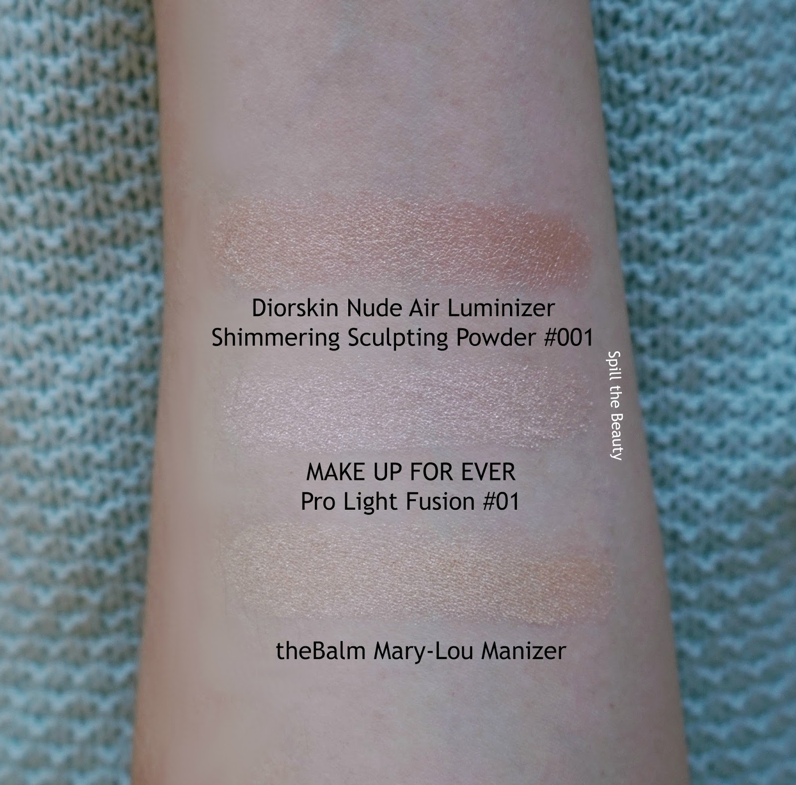 MAKE UP FOR EVER Pro Light Fusion 01 review swatches face comparison dupe 7 diorskin nude air luminizer thebalm mary lou manizer highlighter