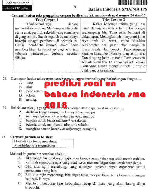 gambar soal un bahasa indonesia sma 2018 dan pembahasannya