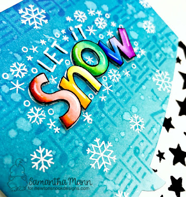 Let it Snow Card by Samantha Mann for Newton's Nook Designs, Heat Embossing, Music, Stencil, Distress Inks, Ink Blending, Cards #newtonsnook #distressinks #inkblending #christmascad #chrismas #stencil #diecuts
