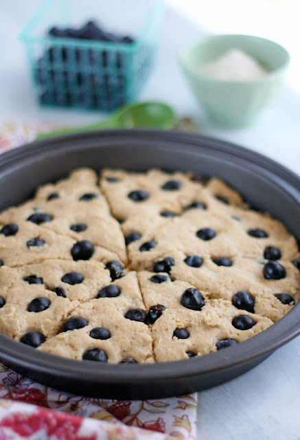 Gluten-Free Blueberry Scone dough in the pan before baking