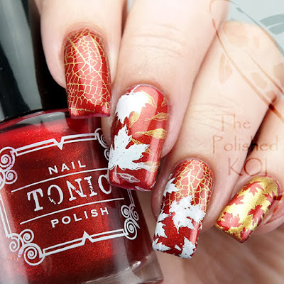 Tonic Polish Lava Lust Autumn Nail Art Fall Leaves