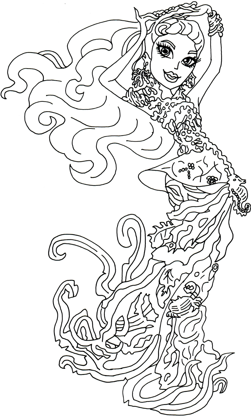 Free Printable Monster High Coloring Pages: Posea Reef