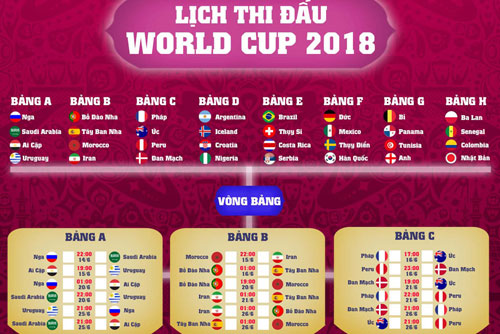 Lịch word cup 2018