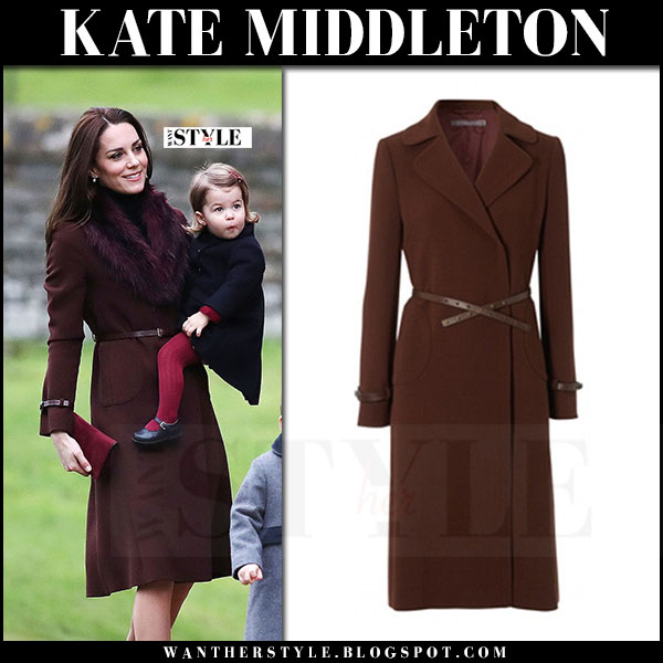 Kate Middleton in burgundy brown Hobbs unlimited celeste coat what she wore christmas 2016