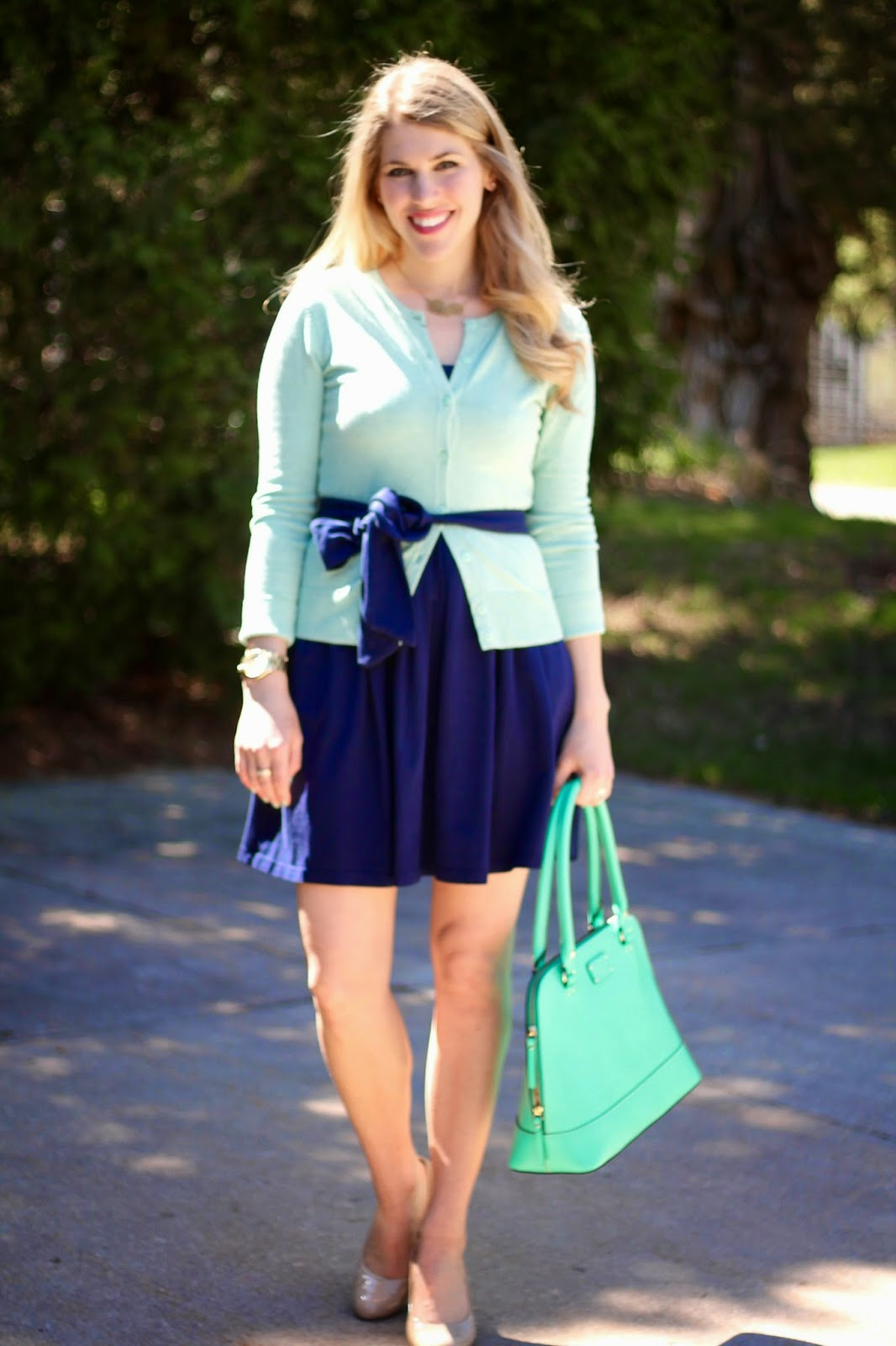 mint cardigan, navy dress, nude heels, kate spade bag, jamberry nail wraps
