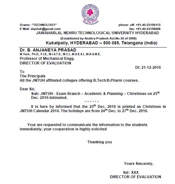 All Education Updates: JNTUH Christmas Holidays 2016 Information
