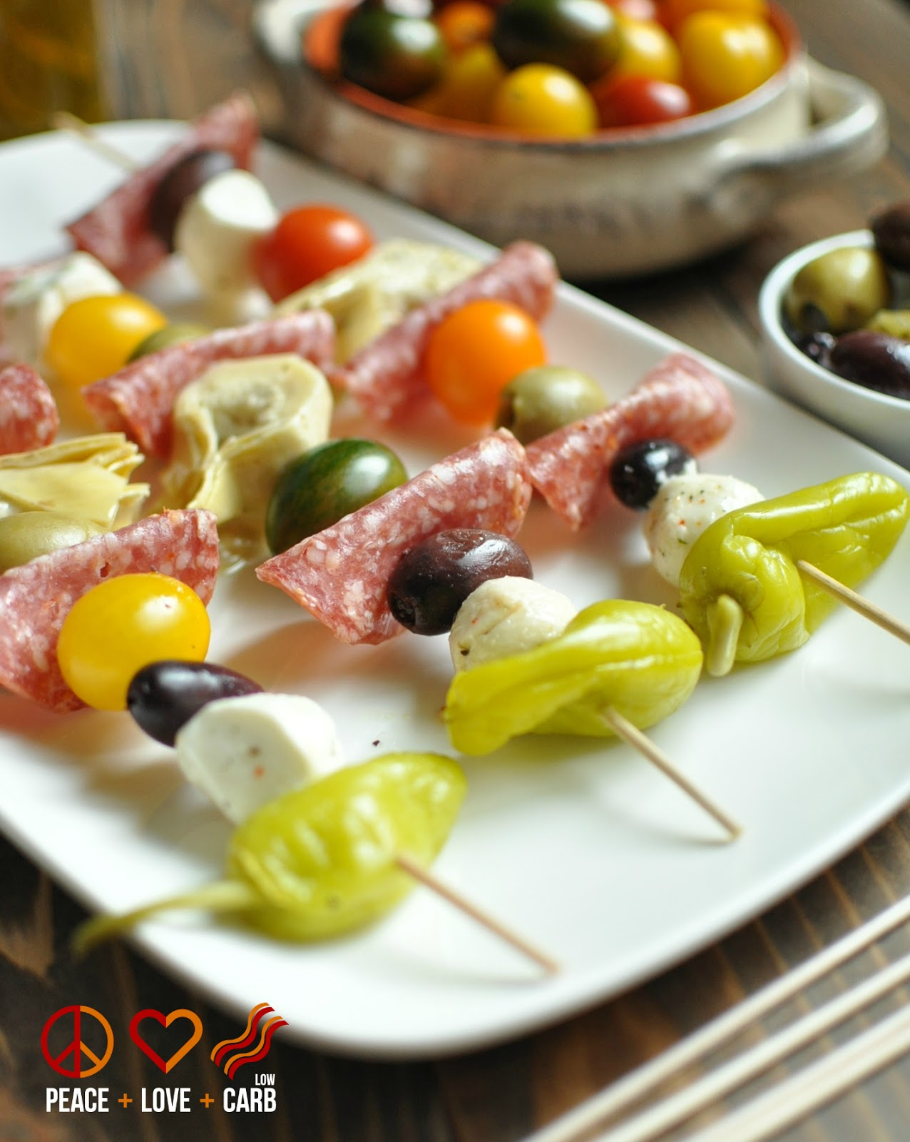 Antipasto Kabobs From Peace Love And Low Carb Shown Above Look Like An Appetizer That Will Disappear Quickly