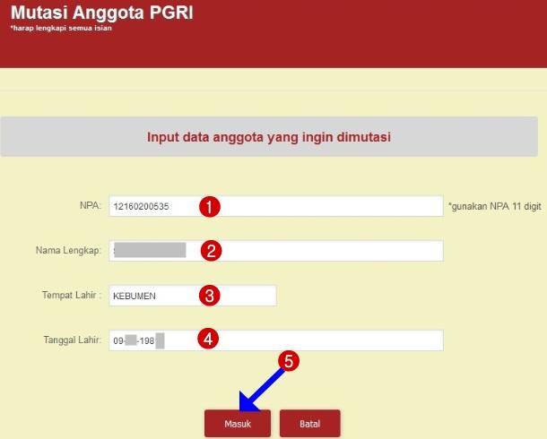 Input Data anggota pgri yang ingin dimutasi
