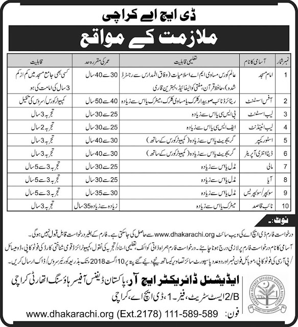 Jobs In Defence Housing Authority DHA Karachi 03 August 2018