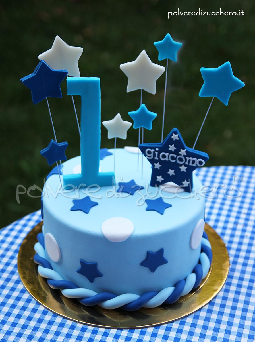 torta decorata primo compleanno pasta di zucchero azzurro blu cake design polvere di zucchero