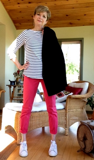 black and white striped ALC tee, pink Elie Tahari pants, Black Helmut Lang jacket
