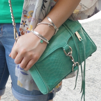 silver bracelet stack, Rebecca Minkoff python snake embossed leather mini MAC bag | Away From The Blue
