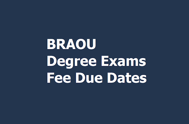 BRAOU CBCS Degree exams Fee Due Dates 2019 for BA, BCom, BSc Exams