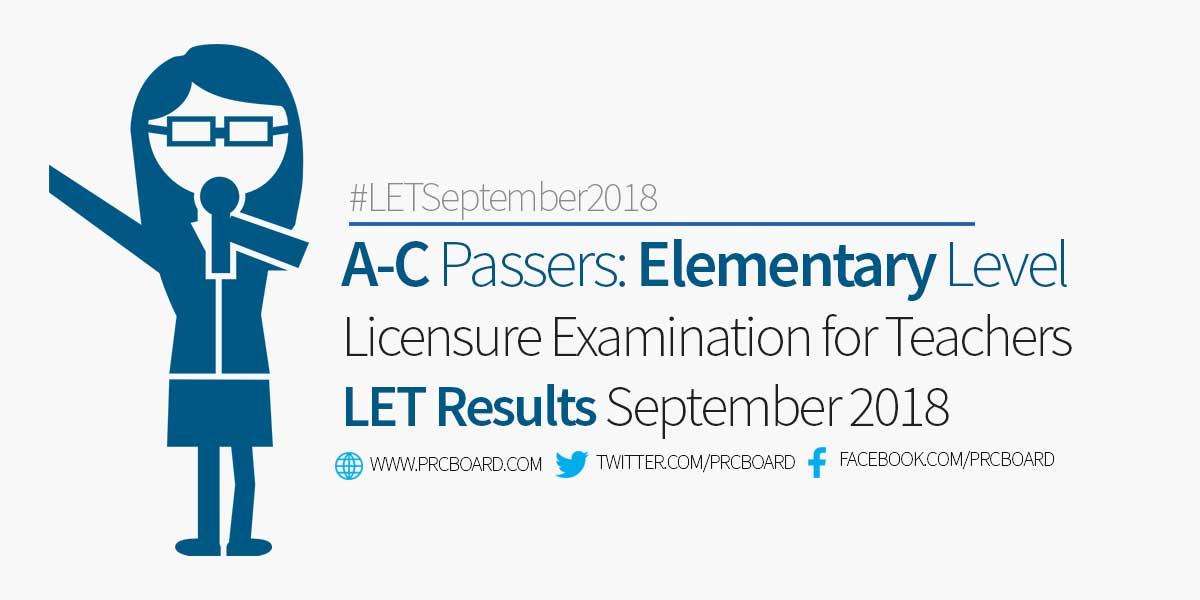 A C Passers Elementary September 2018 Let Teachers Board