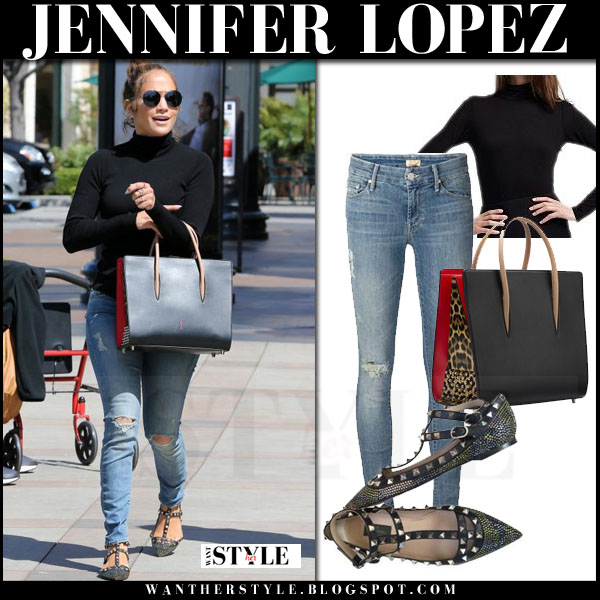 Jennifer Lopez in black turtleneck sweater, ripped mother the looker jeans and studded valentino flats what she wore streetstyle