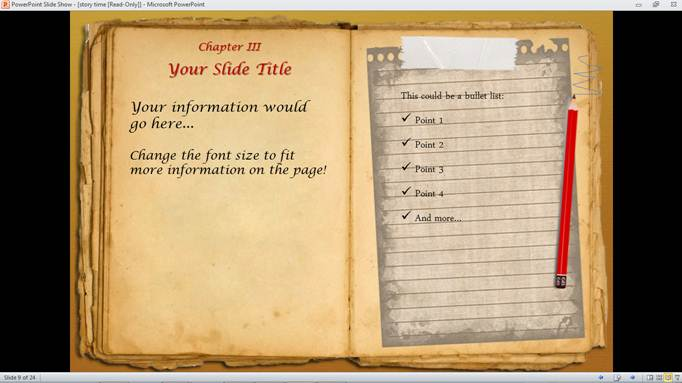 Old diary powerpoint template, backgrounds & google slides id.