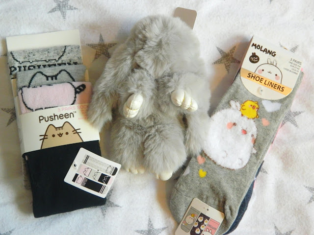 Pusheen socks, Molang socks, cute fluffy grey rabbit keyring