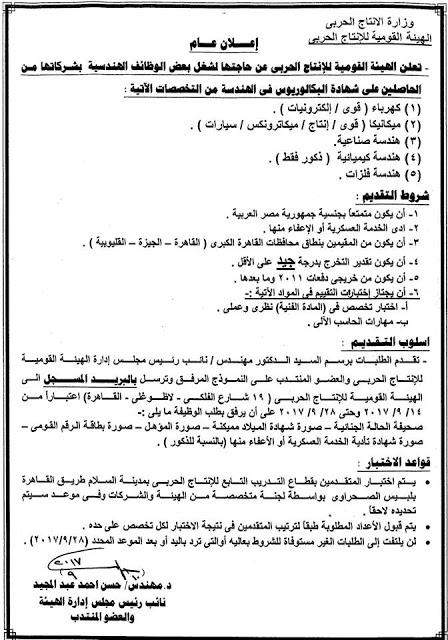 الاعلان الرسمى لوظائف وزارة الانتاج الحربى بالمحافظات للمؤهلات العليا - للتقديم اضغط هنا