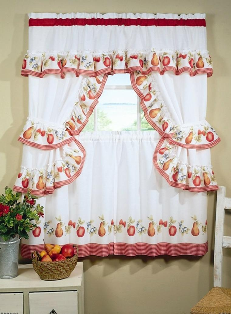 White Stripe Striped Kitchen Curtain Valance