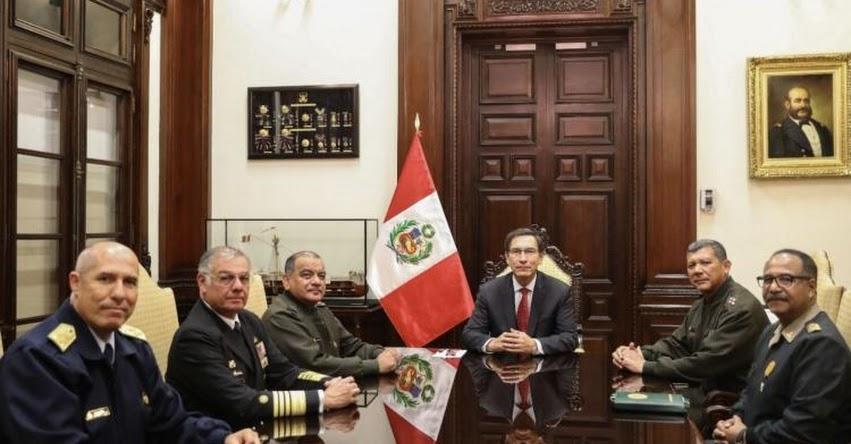 Presidente Vizcarra recibe respaldo de las Fuerzas Armadas y Policía Nacional