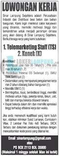 Loker Lampung Terbaru Oktober 2016 di PT. Sinar Lampung Sejahtera Bandar Lampung