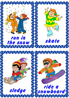 snow activities flashcard, English for kids