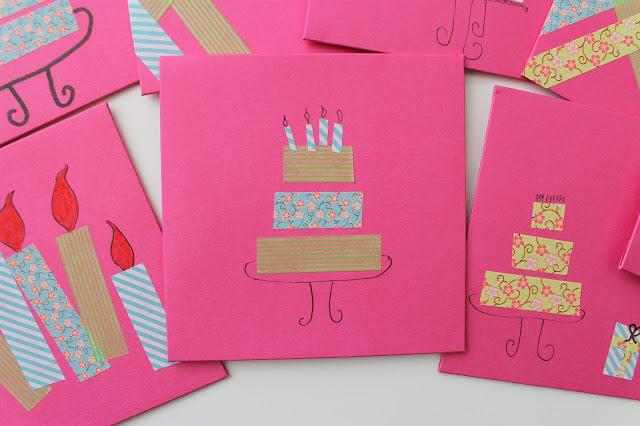 Washi tape birthday invitations, art party, craft party, tween birthday