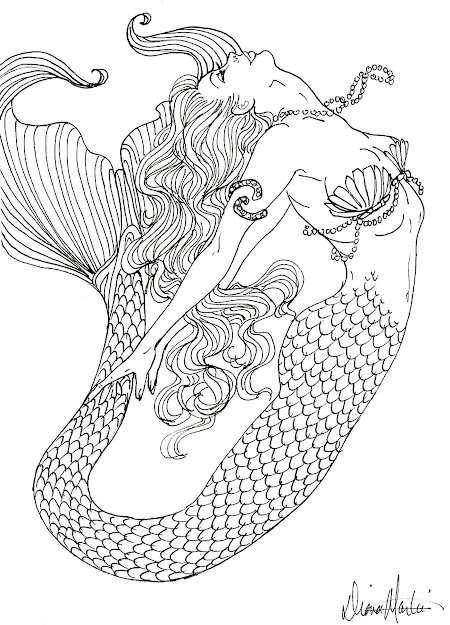 Coloring Pages For Adults Mermaid  Realistic Mermaid Coloring Pages For  Adults Tagged With Detailed Coloring