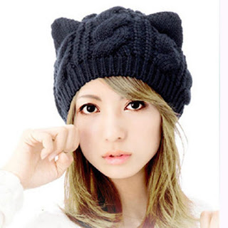 Cat Ears Beanie Cotton Polyester Cable Knit Hat