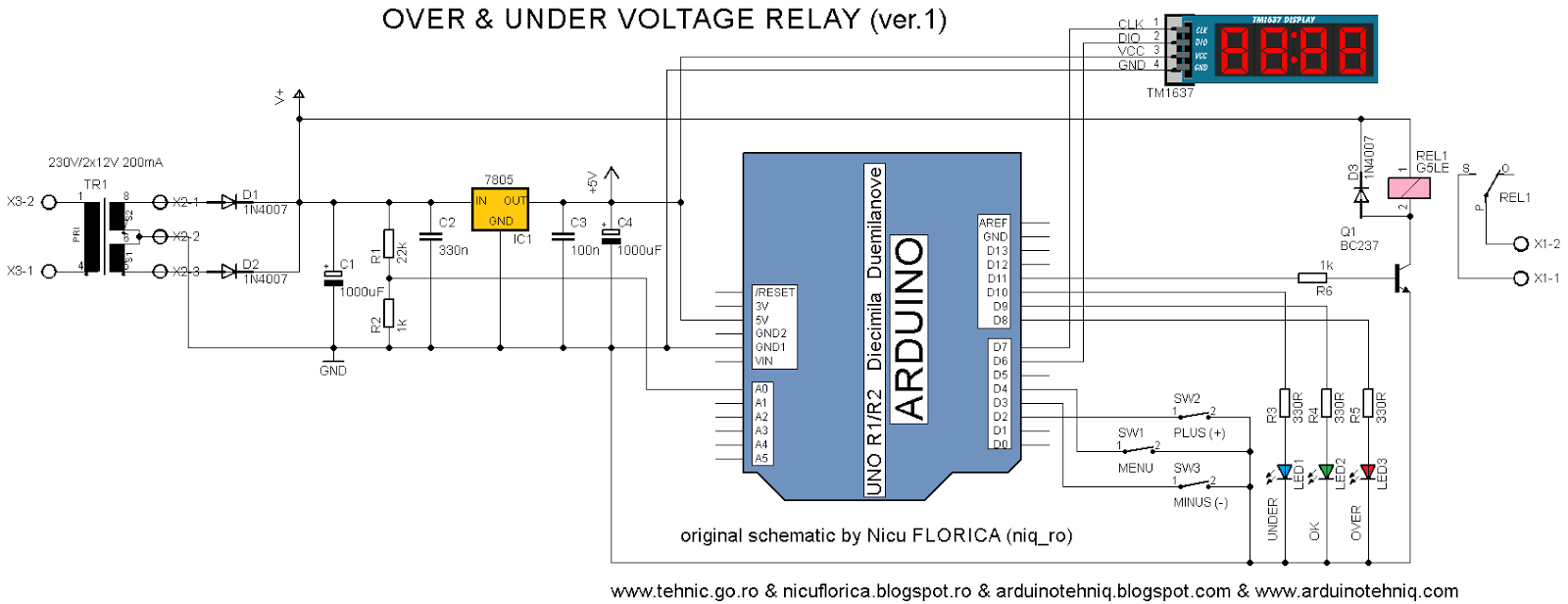 Arduino tehniq under overvoltage relay for ac main power supply after power the module arduino read and calculate vltage for ac main power supply and if is ok coil relay is powered asfbconference2016 Gallery