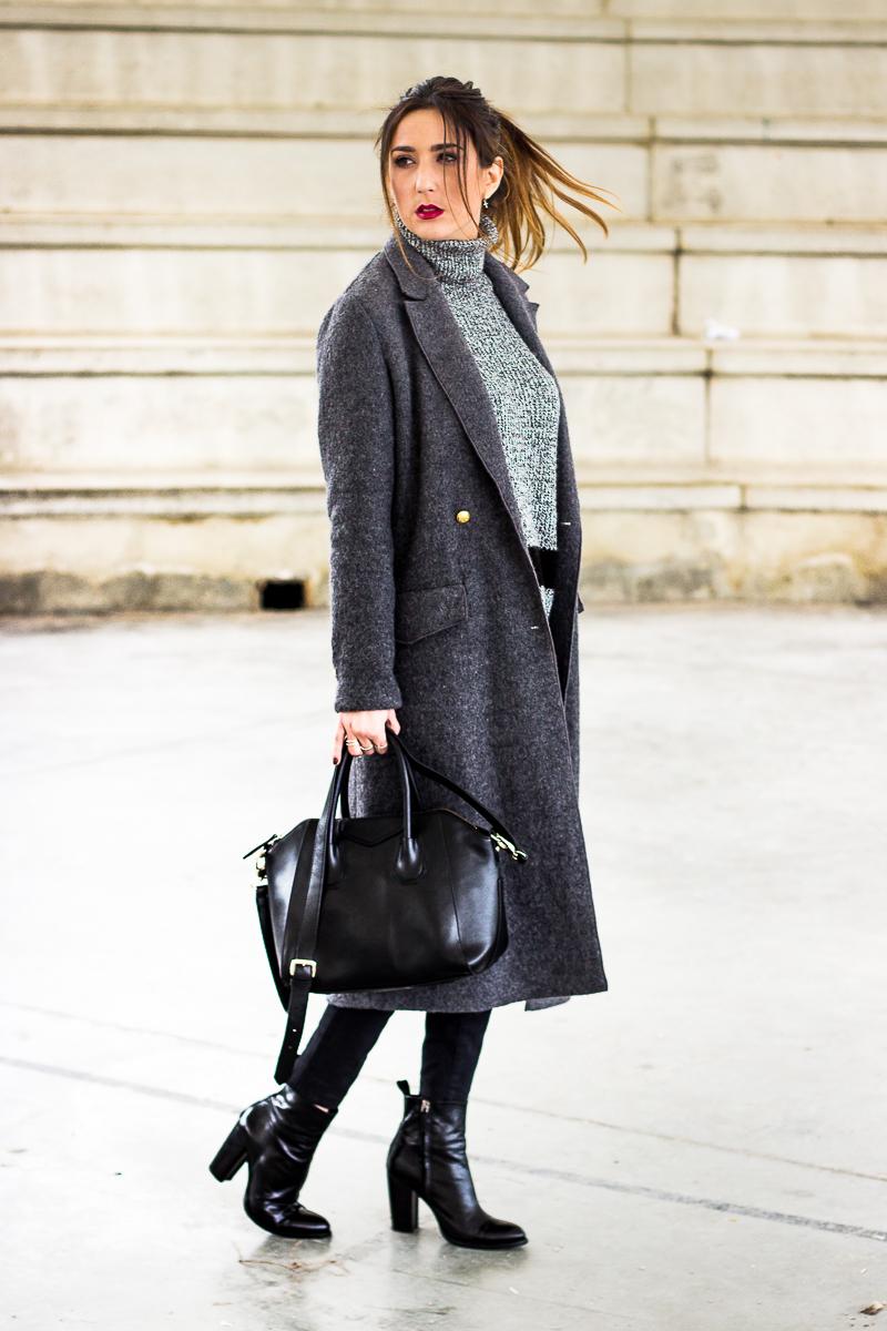 maxi coat gris