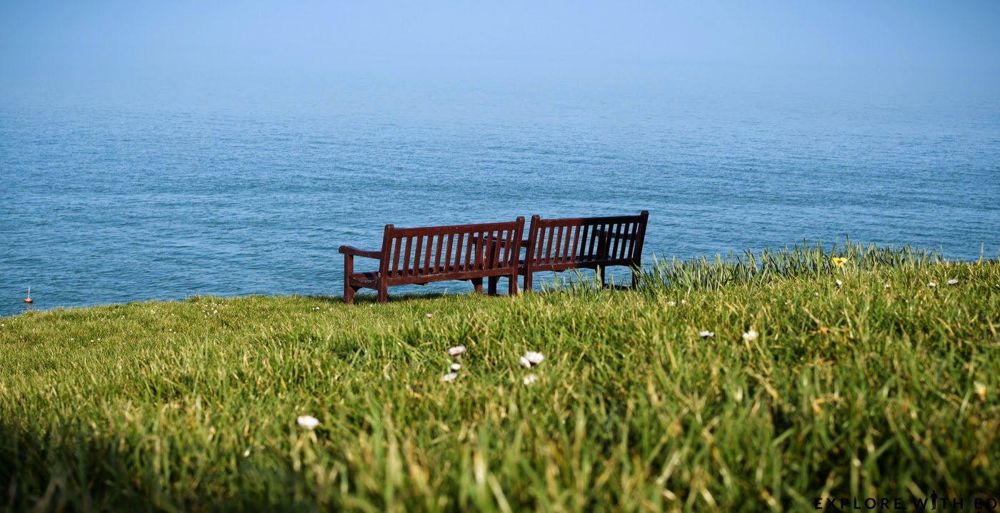 Tenby Headland park bench overlooking the sea