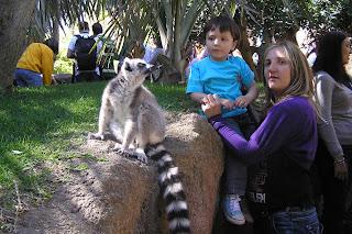 Yolanda con Izan y un Lemur del biopark de Fuengirola.