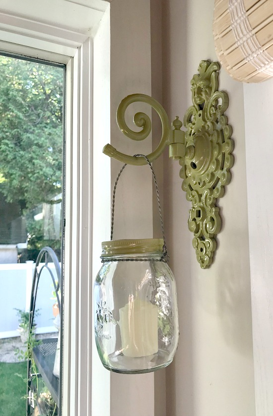 Repurposed Lamp Part into a Hanging Mason Jar Hanger