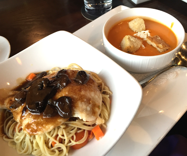 Prix Fixe Lunch featuring Chicken Marsala and Tomato Bisque at The Chocolate Sanctuary in Gurnee, IL