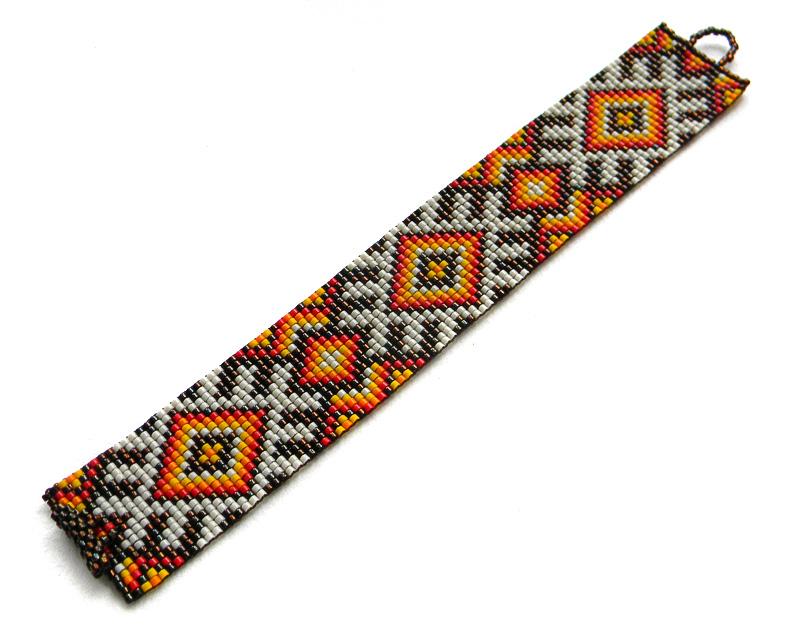 Купить широкий бисерный браслет в интернет-магазине авторской бижутерии