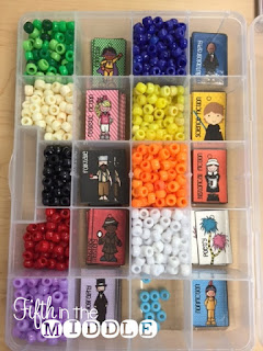 Bead organization boxes are perfect for brag tags.