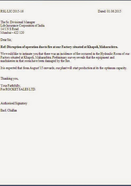 accident intimation letter to insurance company