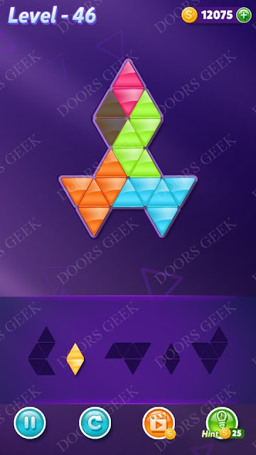 Block! Triangle Puzzle 5 Mania Level 46 Solution, Cheats, Walkthrough for Android, iPhone, iPad and iPod
