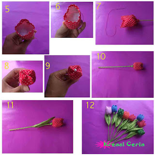 Tutorial 2 bunga tulip dari kain perca